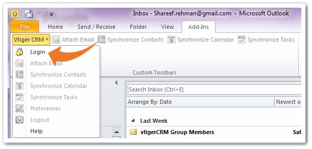 ورود به به نرم افزار ویتایگر در Outlook